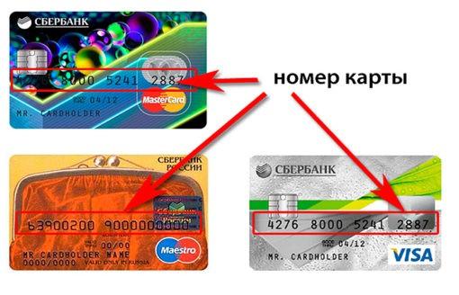 Расположение номера карты на банковской кредитке