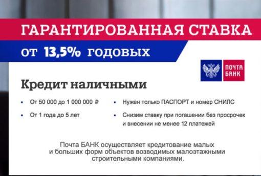 Условия получения кредита от Почта Банка