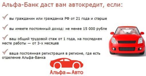 Кредит на автомобиль без первоначального взноса от Альфа-Банка