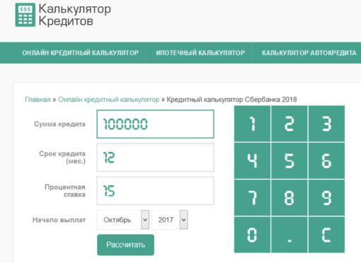 Кредитный калькулятор Сбербанка
